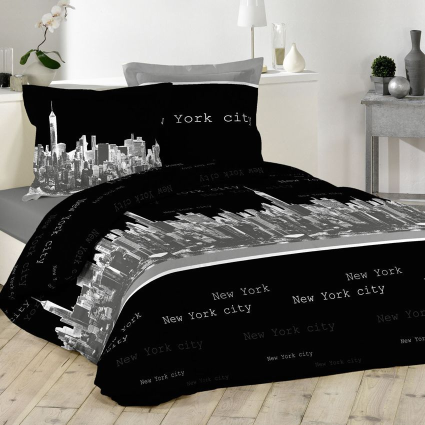 parure de couette 5 pi ces ny buildings parure de draps eminza. Black Bedroom Furniture Sets. Home Design Ideas