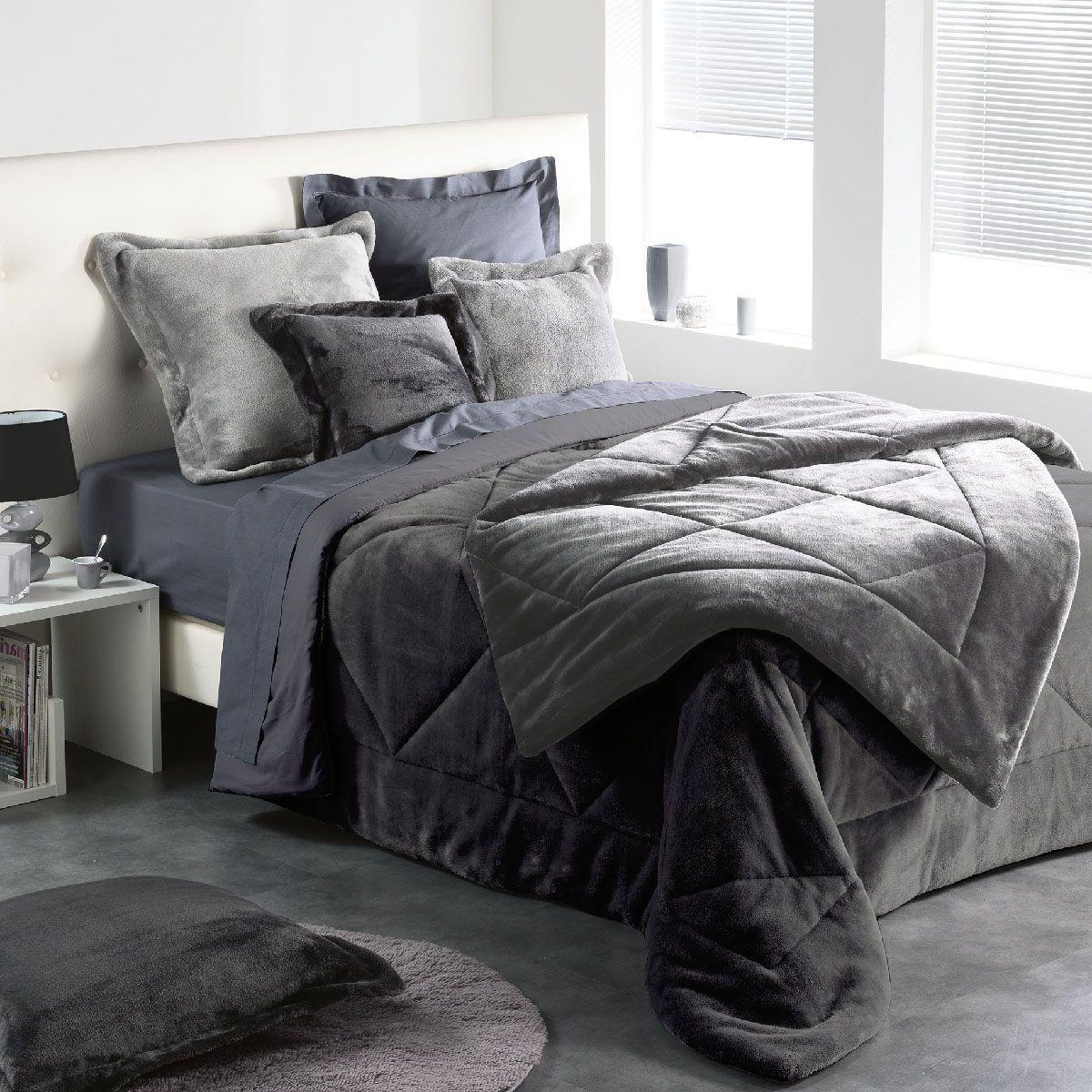 couvre lit 220 x 240 cm sweet night anthracite couvre lit boutis eminza. Black Bedroom Furniture Sets. Home Design Ideas