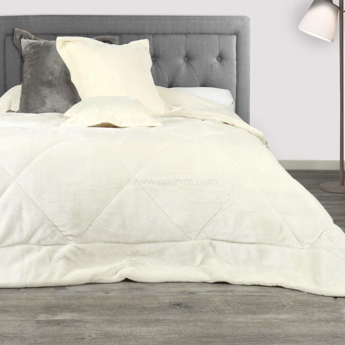 couvre lit 220 x 240 cm sweet night naturel couvre lit boutis eminza. Black Bedroom Furniture Sets. Home Design Ideas
