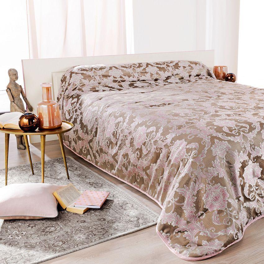 couvre lit 230 x 250 cm murano rose couvre lit boutis eminza. Black Bedroom Furniture Sets. Home Design Ideas