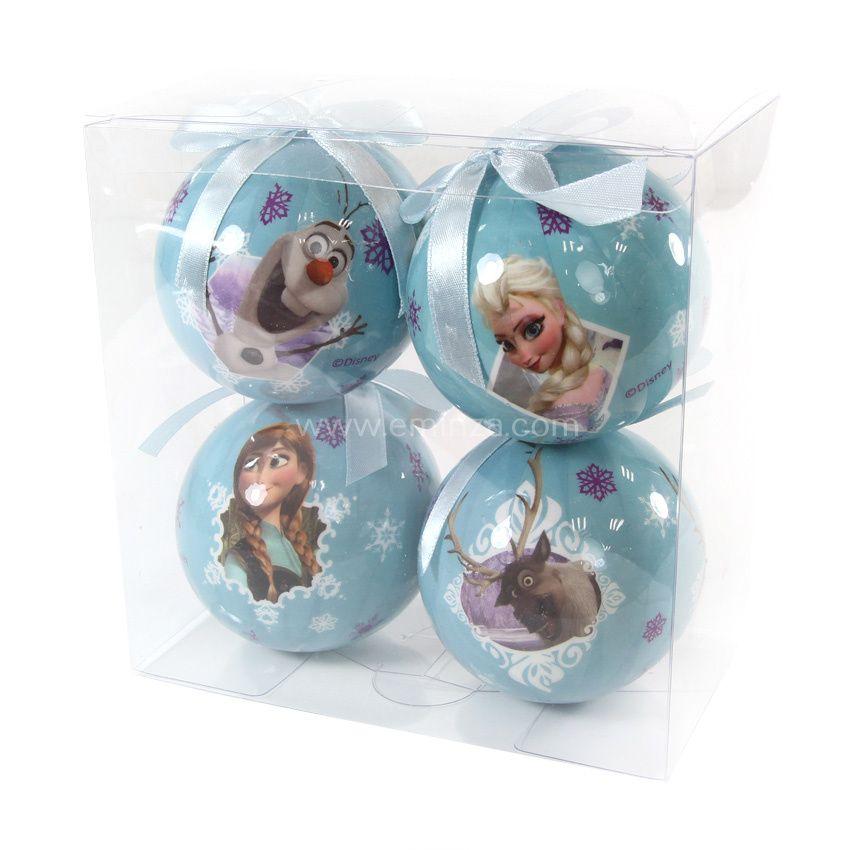 lot de 4 boules de no l disney reine des neiges bleu boule de no l eminza. Black Bedroom Furniture Sets. Home Design Ideas