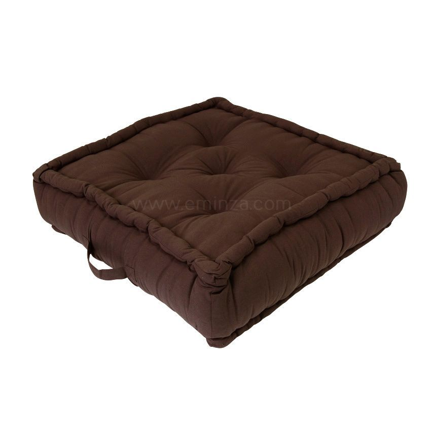 grand coussin de sol 60 cm etna chocolat coussin de sol et pouf eminza. Black Bedroom Furniture Sets. Home Design Ideas