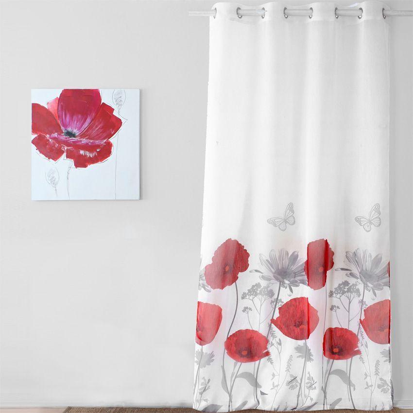 Voilage 140 x h260 cm coquelicot rouge voilage eminza - Rideau voilage gris et rouge ...