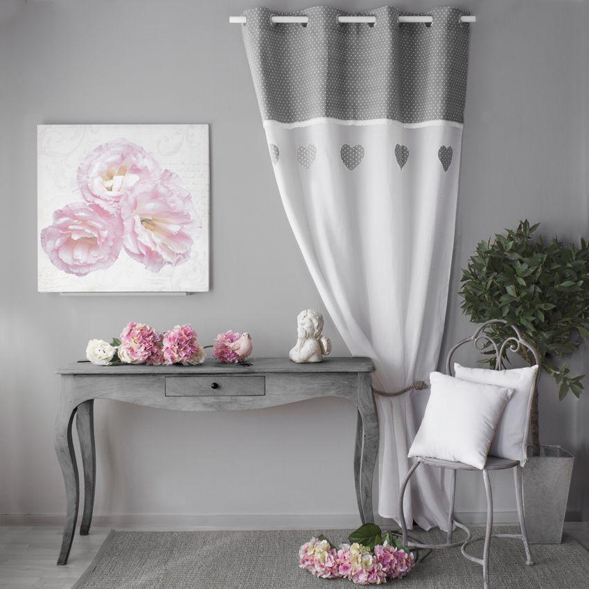 voilage 140 x 240 cm c ur etamine gris voilage eminza. Black Bedroom Furniture Sets. Home Design Ideas