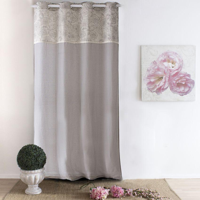 voilage 140 x h240 cm rosa etamine taupe voilage eminza. Black Bedroom Furniture Sets. Home Design Ideas