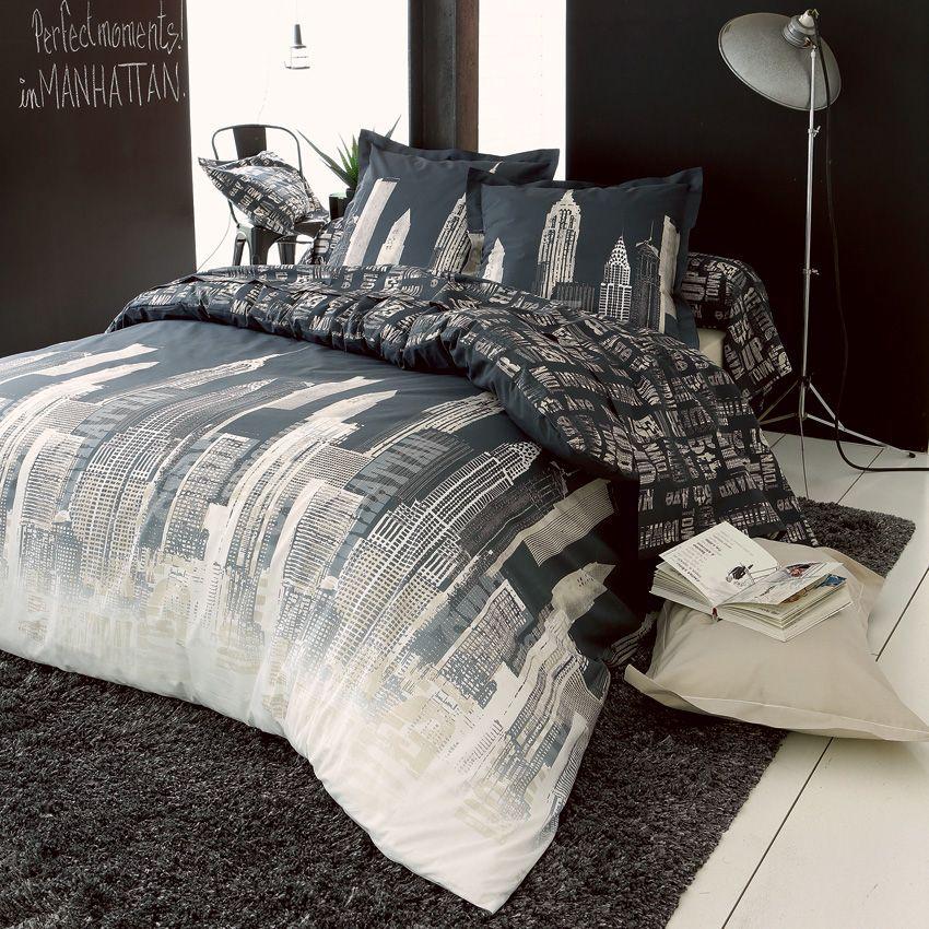 housse de couette et deux taies 240 cm city gris housse de couette eminza. Black Bedroom Furniture Sets. Home Design Ideas