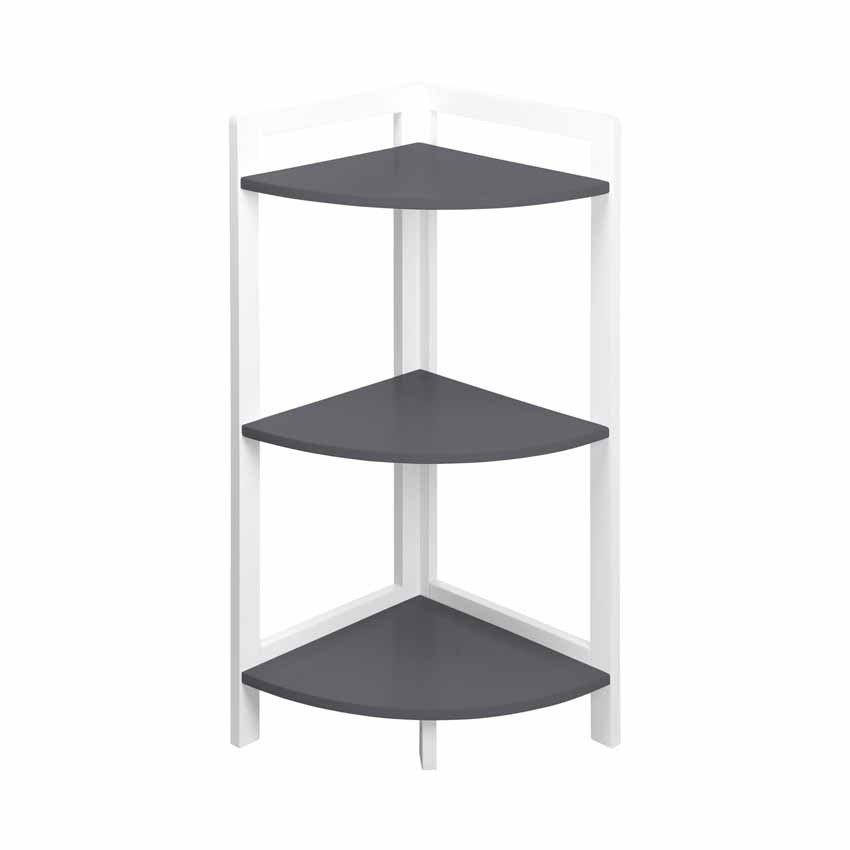 Meuble d 39 angle 3 tag res anthracite meuble bas eminza for Etagere d angle salle de bain