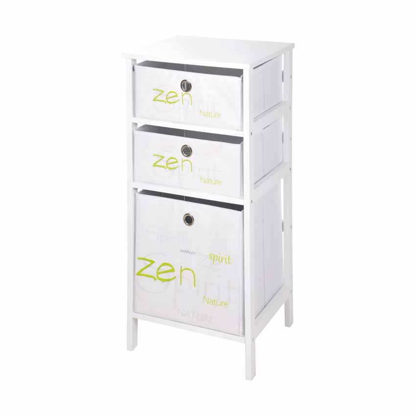 Meuble 3 paniers nature zen blanc meuble d co eminza for Meuble zen