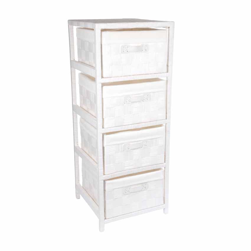 Meuble 4 paniers classique blanc meuble d co eminza for Meuble classique