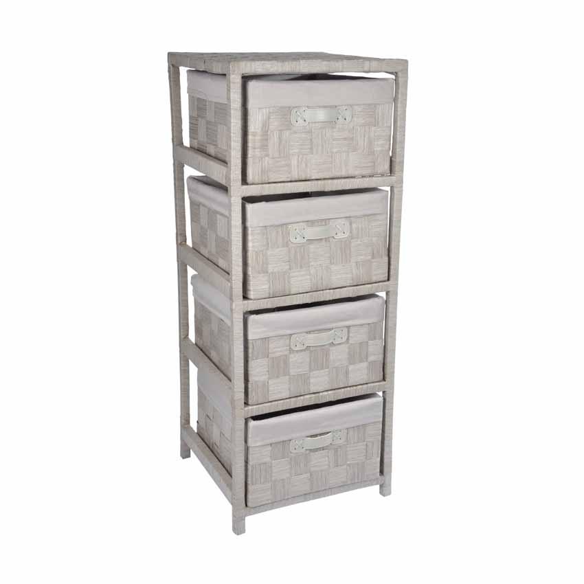 meuble 4 paniers classique taupe meuble d co eminza. Black Bedroom Furniture Sets. Home Design Ideas