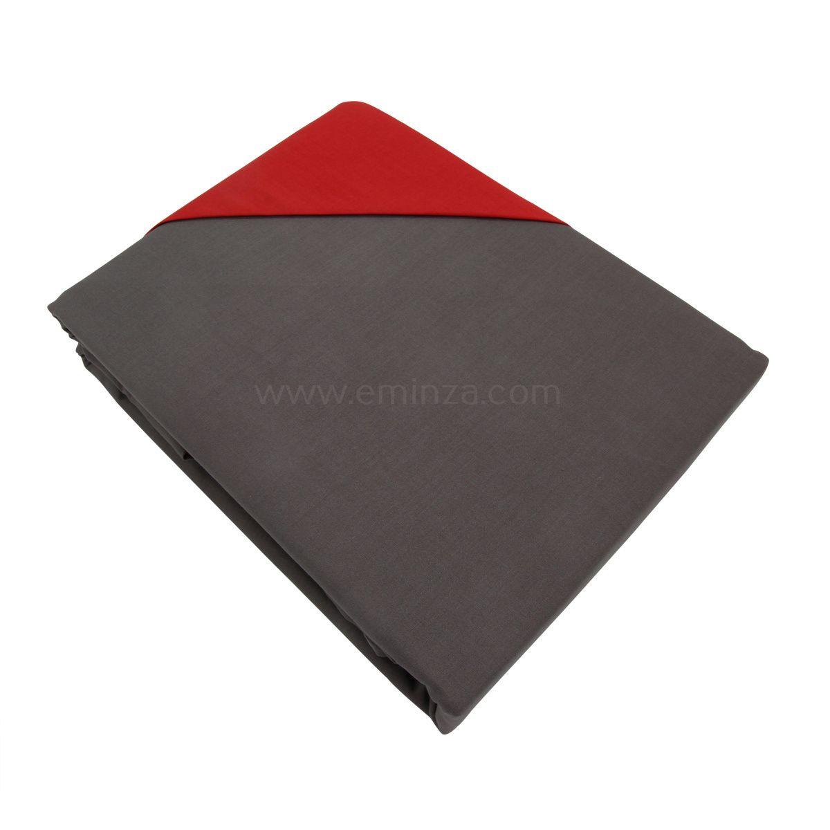 Housse de couette et deux taies l240 cm bi color gris et - Housse de couette rouge et gris ...
