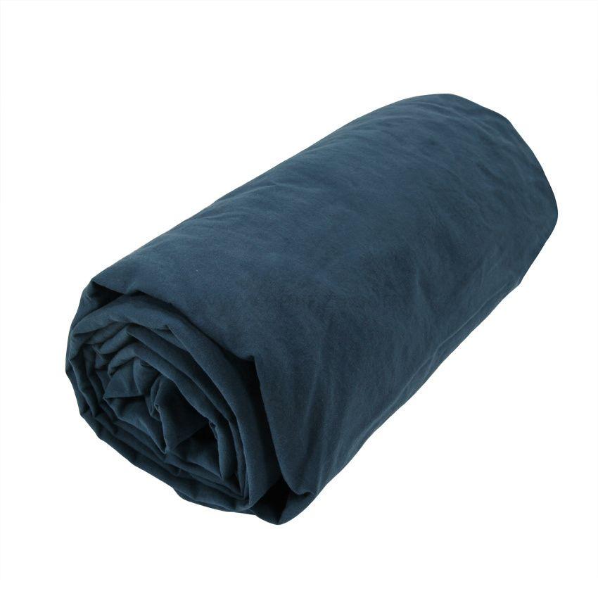 drap housse coton teint lav 140 cm royaume bleu marine drap housse eminza. Black Bedroom Furniture Sets. Home Design Ideas