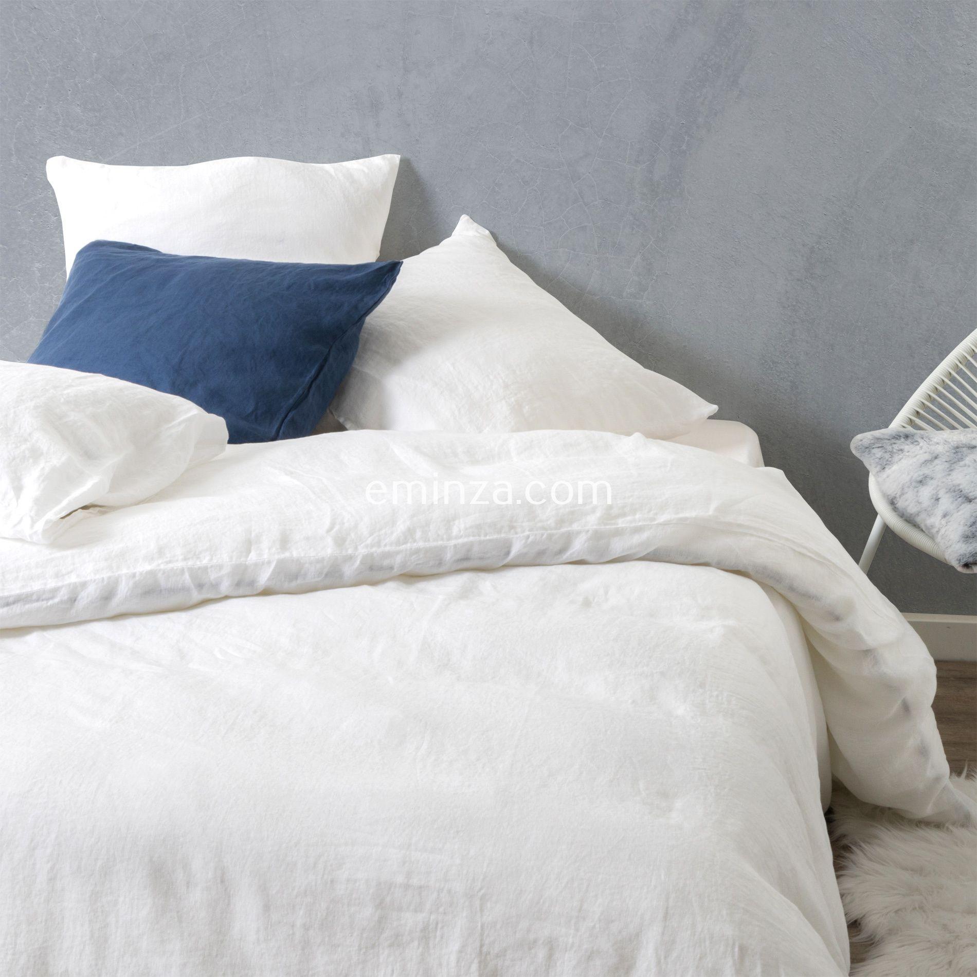 Housse de couette 240 cm lin lav pure blanc neige - Housse de couette lin blanc ...