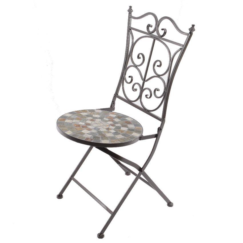 Lot De 2 Chaises De Jardin Pliantes Mosaïque Eglantine - Chaise Et