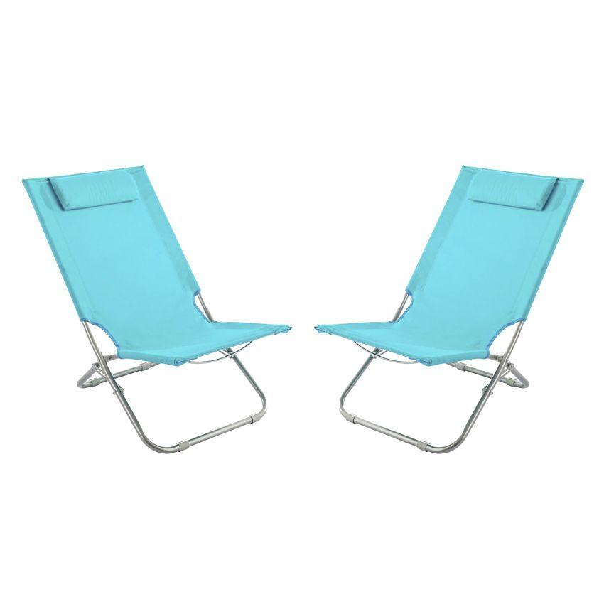 lot de 2 chaises de plage caparica bleu turquoise mobilier de camping eminza. Black Bedroom Furniture Sets. Home Design Ideas