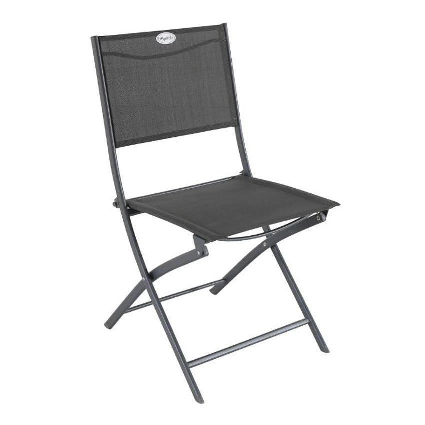 Lot de 2 chaises de jardin pliantes modula anthracite for Chaises pliantes de jardin