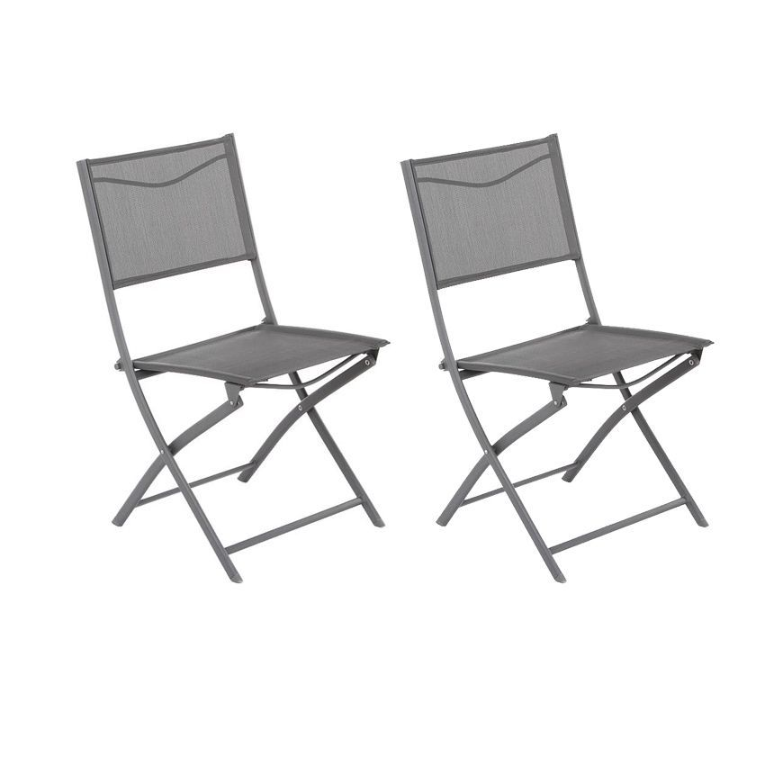 lot de 2 chaises de jardin pliantes modula ardoise chaise et fauteuil de jardin eminza. Black Bedroom Furniture Sets. Home Design Ideas