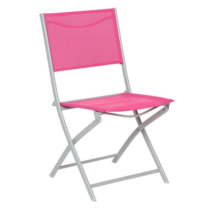 Lot de 2 chaises de jardin pliantes modula framboise for Lot de chaises pliantes