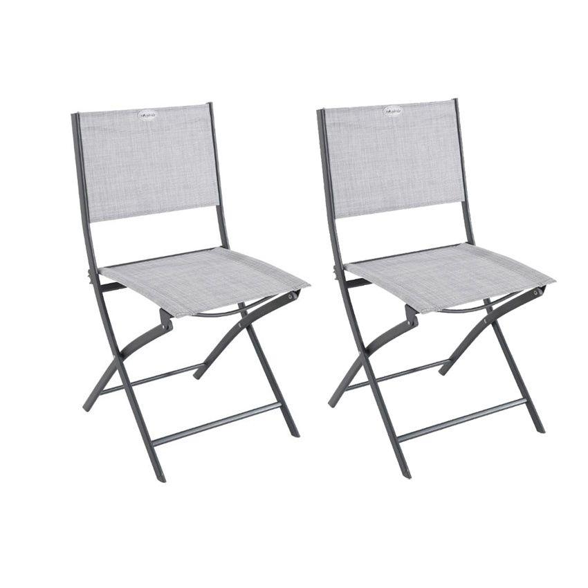 lot de 2 chaises de jardin pliantes modula gris graphite chaise et fauteuil de jardin eminza. Black Bedroom Furniture Sets. Home Design Ideas