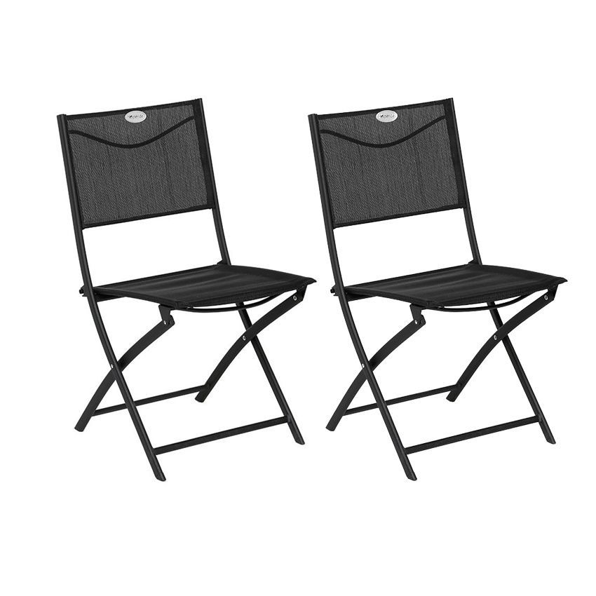 Lot de 2 chaises de jardin pliantes modula noir chaise - Lot de chaise de jardin ...