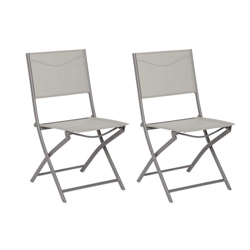 Lot De 2 Chaises De Jardin Pliantes Modula - Taupe/Mastic - Chaise