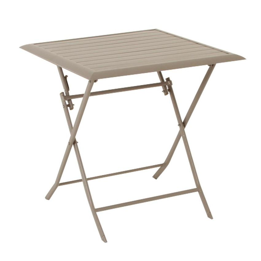 Table de jardin pliante aluminium azua 71 x 71 cm taupe table de jardin eminza - Table pliante aluminium ...
