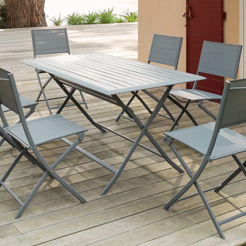 Table de jardin pliante aluminium azua 150 x 80 cm for Jardin 80