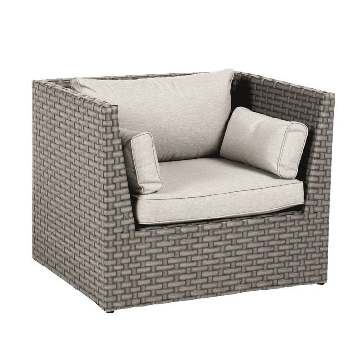 fauteuil de jardin giannella moka gris clair salon de jardin d tente eminza. Black Bedroom Furniture Sets. Home Design Ideas