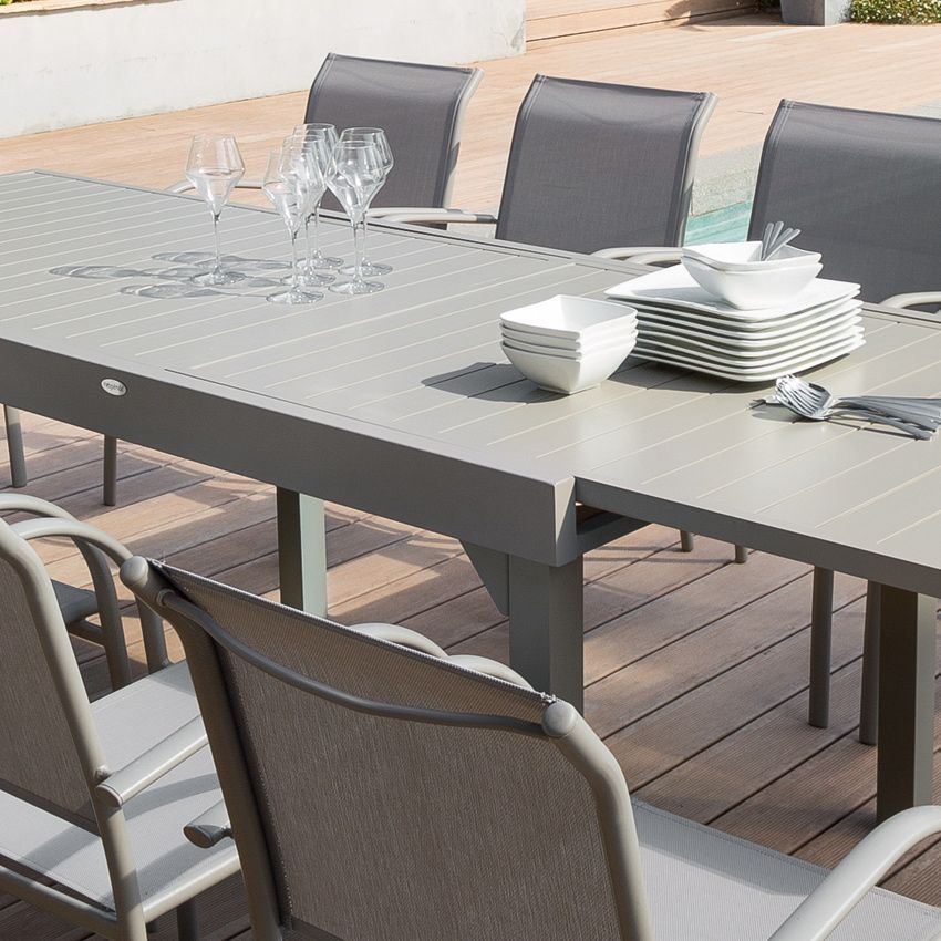 table de jardin extensible aluminium piazza max 270 cm taupe table de jardin eminza. Black Bedroom Furniture Sets. Home Design Ideas
