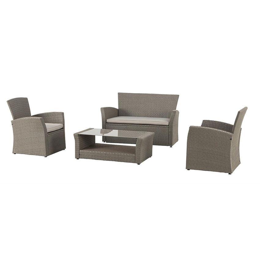 salon de jardin bora bora mokaccino taupe 4 places salon de jardin eminza. Black Bedroom Furniture Sets. Home Design Ideas