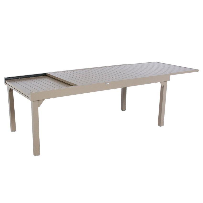 table de jardin extensible aluminium piazza max 300 cm taupe table de jardin eminza. Black Bedroom Furniture Sets. Home Design Ideas