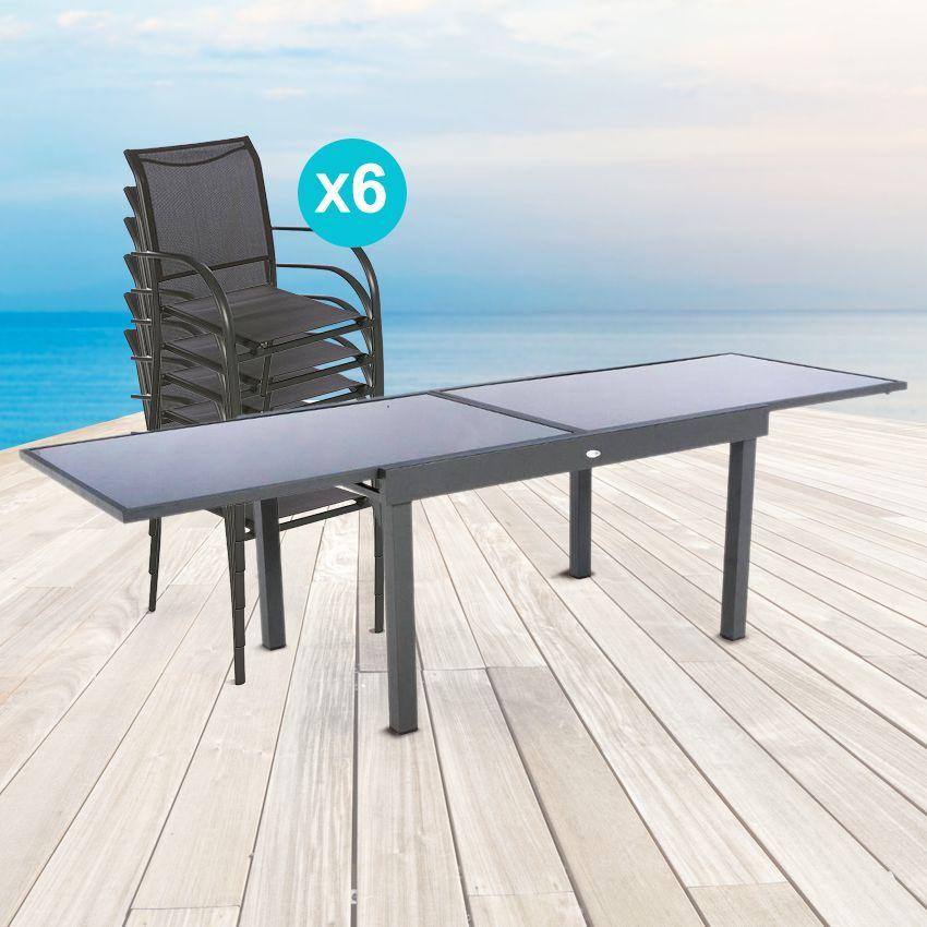 Salon de jardin piazza anthracite graphite verre 6 10 for Accessoire piscine graphite