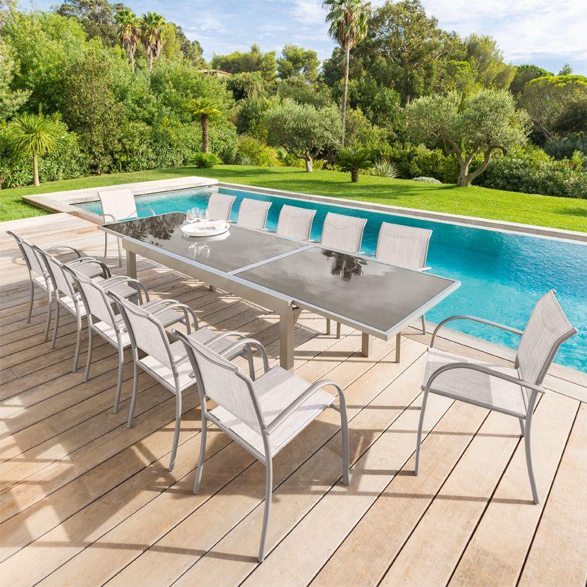 Salon de jardin piazza taupe mastic verre 6 10 for Verre pile piscine
