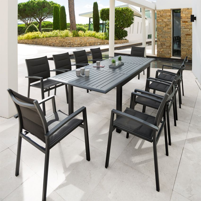 Table de jardin extensible aluminium azua 240 x 100 cm for Table extensible 300 cm