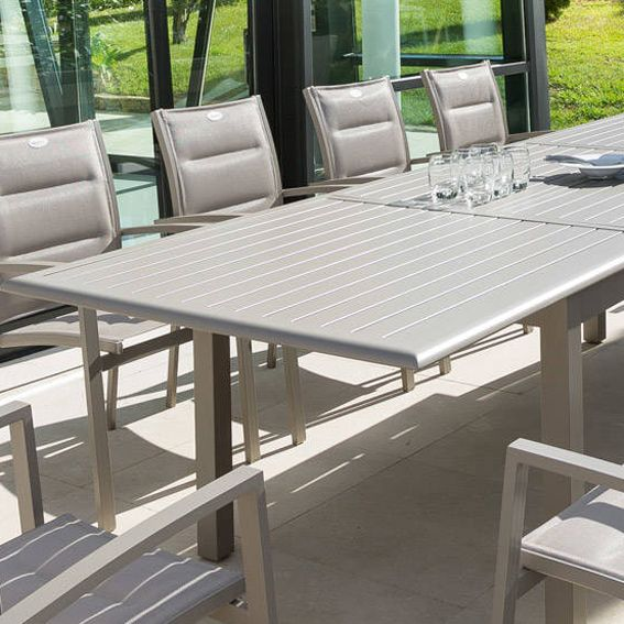 Table de jardin extensible aluminium azua max 240 cm - Salon de jardin hesperide azua taupe ...