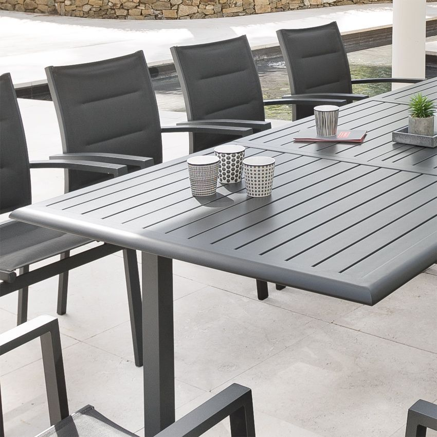 Table de jardin extensible aluminium azua max 300 cm ardoise table de jardin eminza - Table de jardin aluminium ...