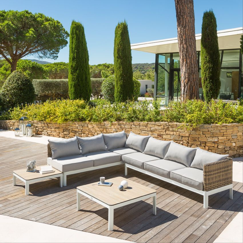 Salon de jardin barcelone naturel gris clair 6 places for Salon jardin gris clair