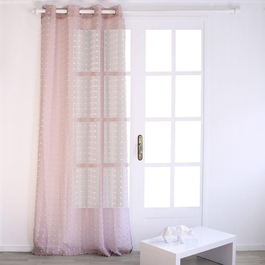 voilage 140 x h240 cm etamine poil rose voilage eminza. Black Bedroom Furniture Sets. Home Design Ideas
