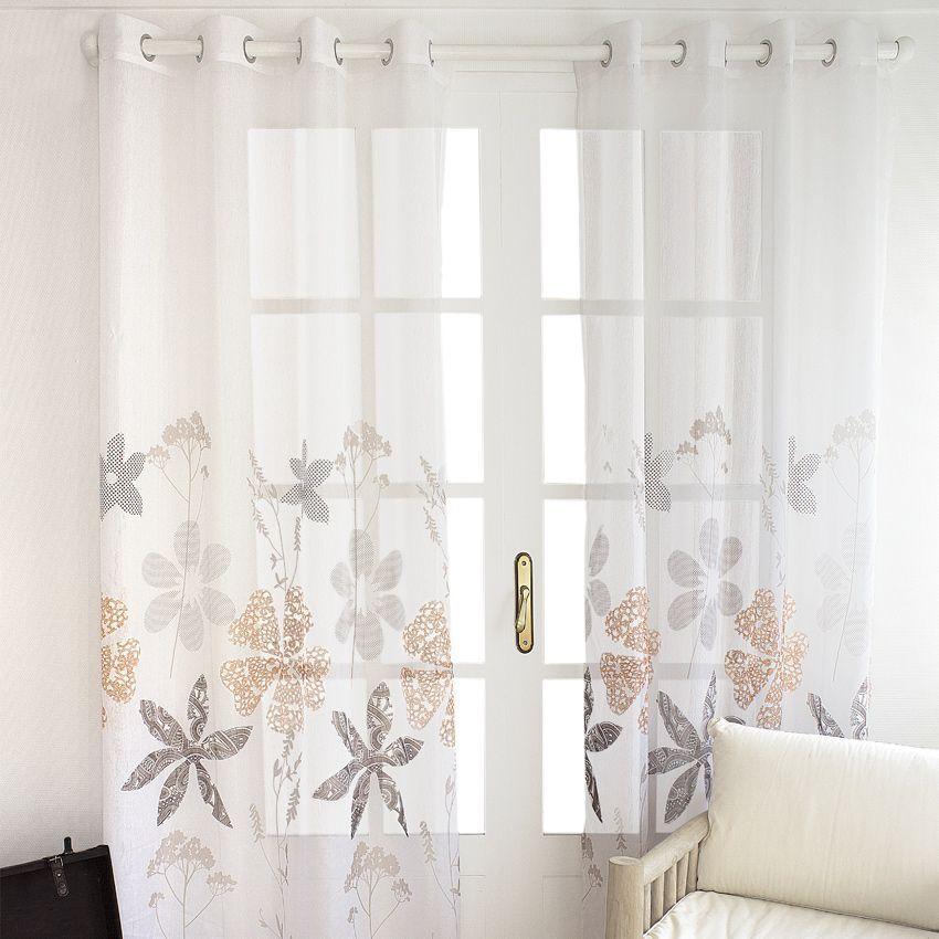 voilage 140 x h260 cm design boh me blanc voilage eminza. Black Bedroom Furniture Sets. Home Design Ideas