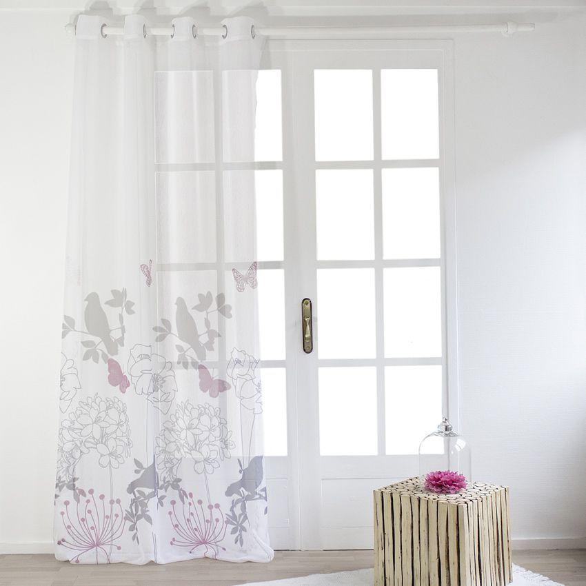 Voilage 140 x h260 cm design bucolique blanc voilage eminza - Linge de maison design ...