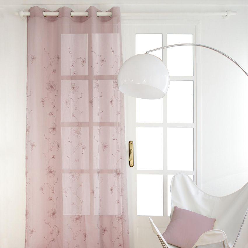 voilage 140 x h240 cm dolly lys rose p le voilage eminza. Black Bedroom Furniture Sets. Home Design Ideas