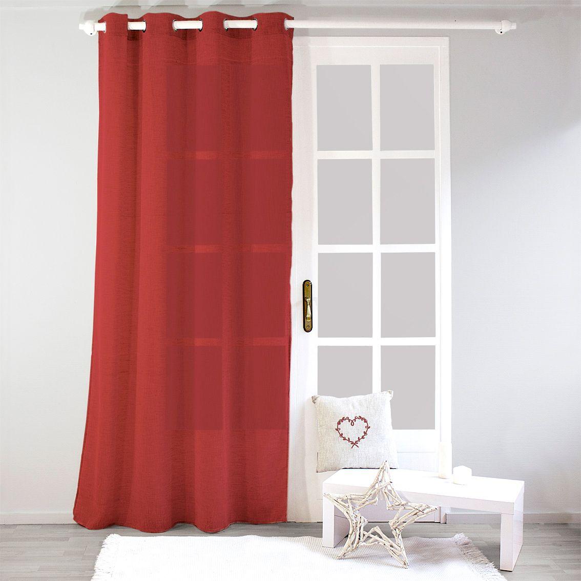 voilage 140 x h 240 cm effet lin rouge voilage eminza. Black Bedroom Furniture Sets. Home Design Ideas