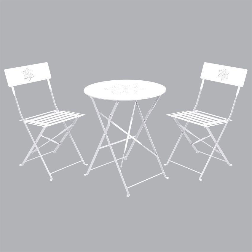 Salon de jardin pliant Bistro Blanc - 2 personnes - Salon à ...