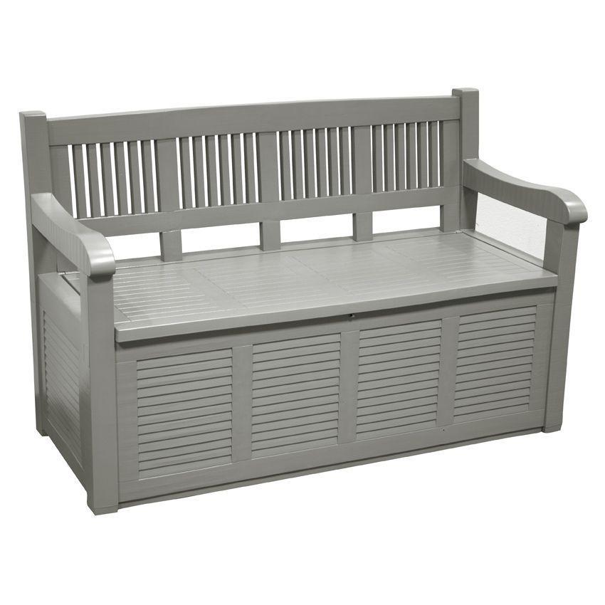 ensemble banc et coffre gris banc de jardin eminza. Black Bedroom Furniture Sets. Home Design Ideas