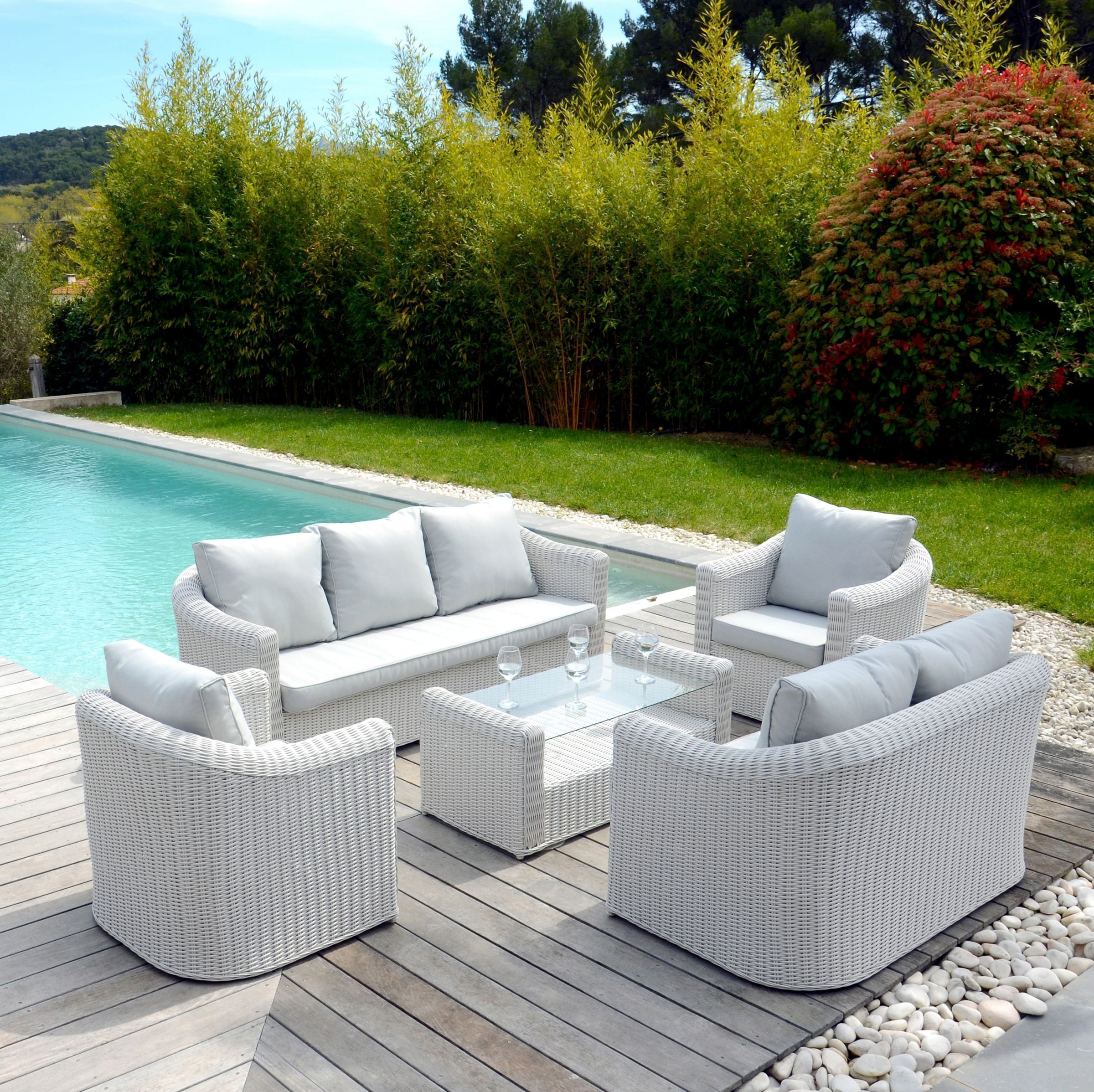 canap de jardin 2 places capri blanc perle salon composer eminza. Black Bedroom Furniture Sets. Home Design Ideas