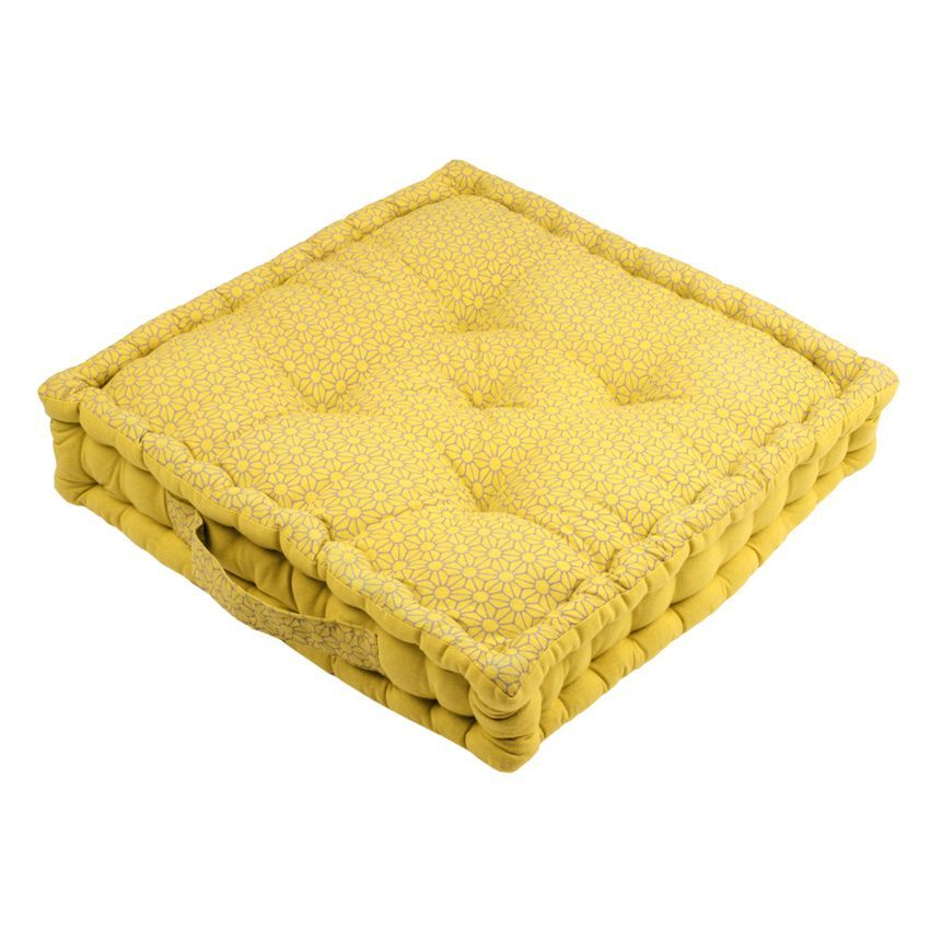 coussin de sol 45 cm sina jaune coussin de sol et pouf eminza. Black Bedroom Furniture Sets. Home Design Ideas
