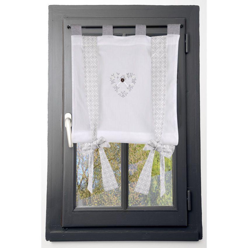 Voilage vitrage 80 x 160 cm manoir blanc voilage eminza - Rideaux maison de campagne ...