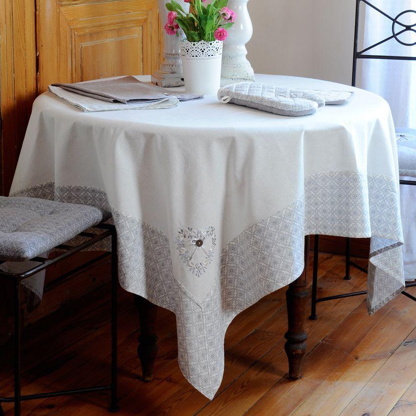 nappe carr e l 150 cm manoir blanc nappe de table eminza. Black Bedroom Furniture Sets. Home Design Ideas
