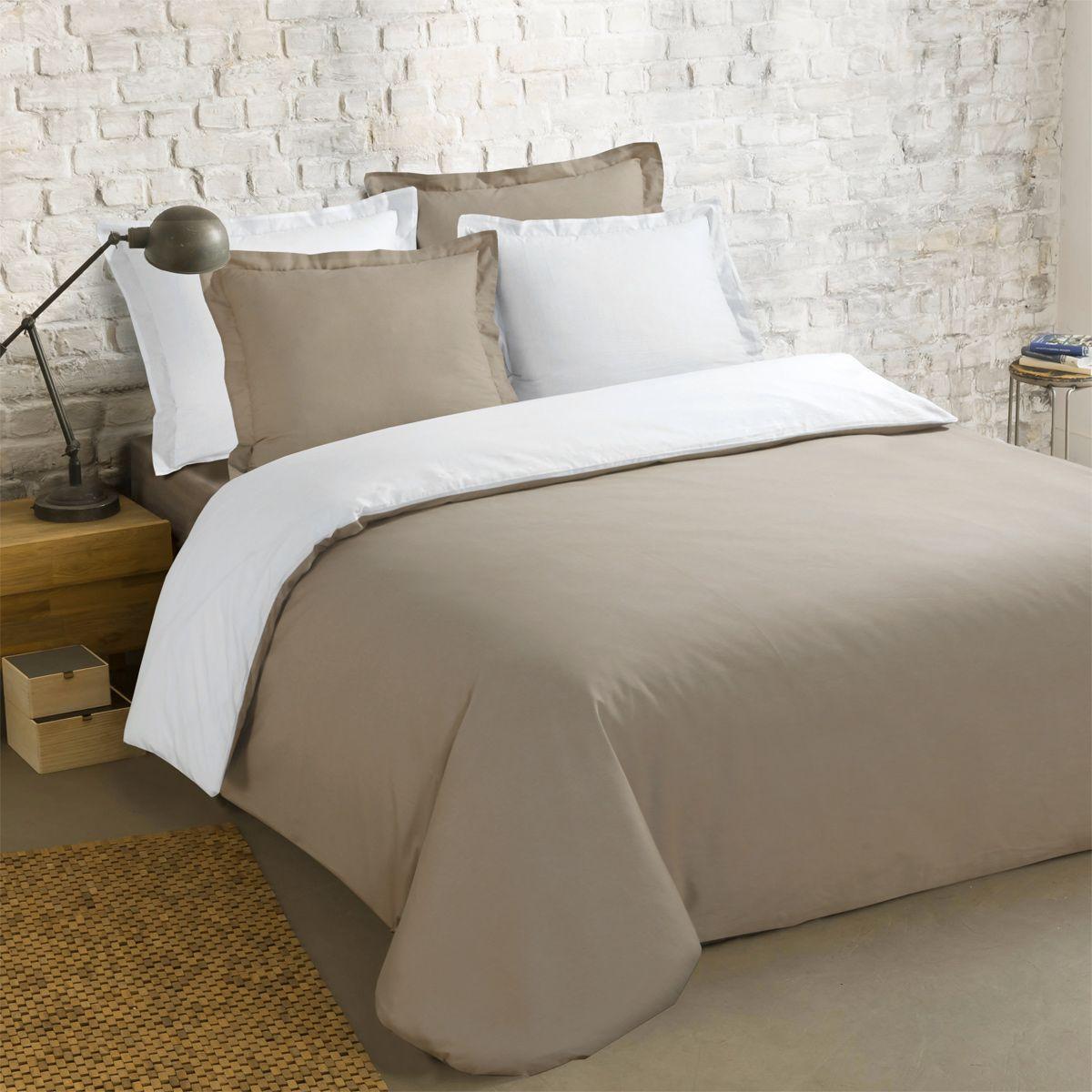 housse de couette et deux taies 200 cm bi color taupe et blanc housse de couette eminza. Black Bedroom Furniture Sets. Home Design Ideas