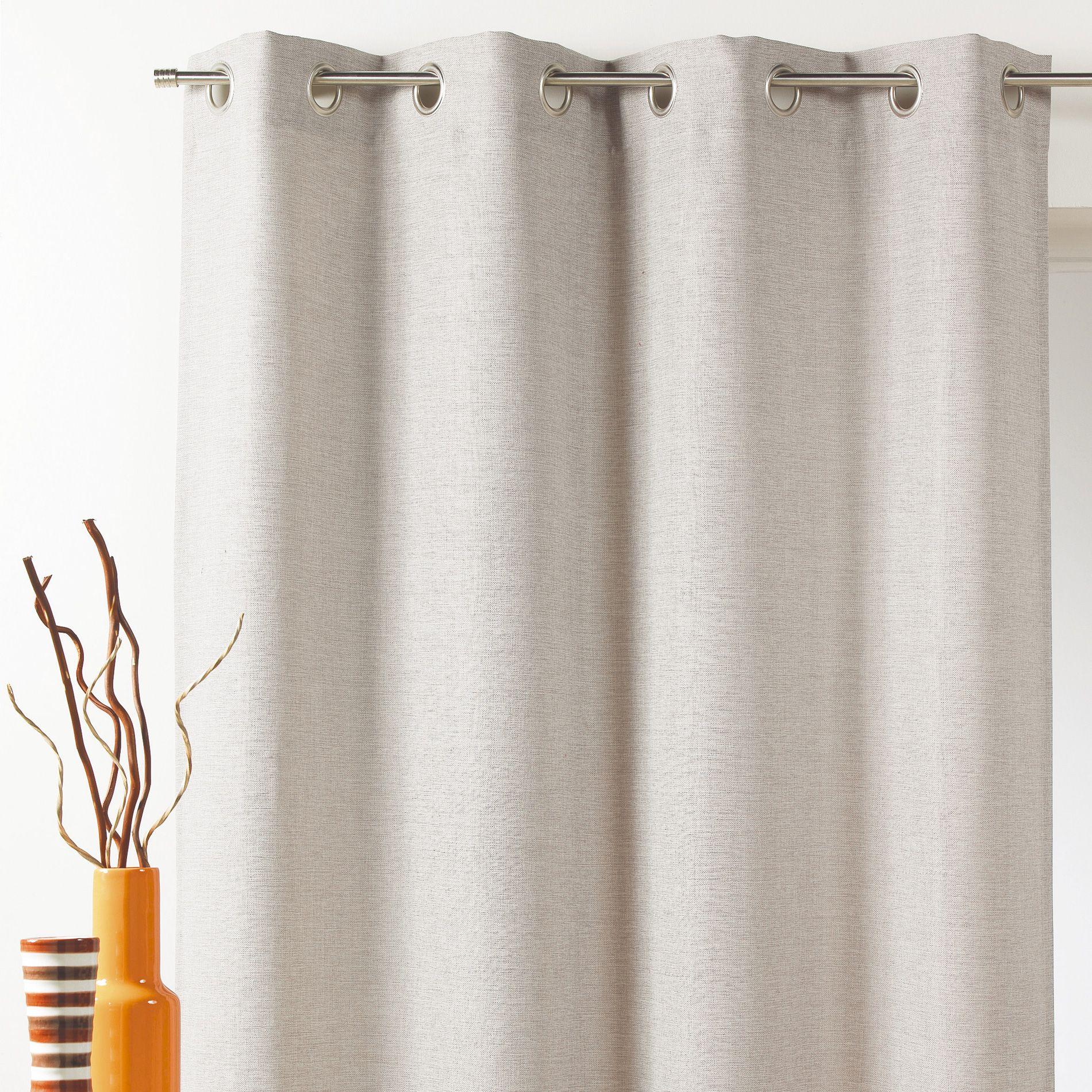 rideau occultant 140 x 260 cm faux uni lin rideau. Black Bedroom Furniture Sets. Home Design Ideas